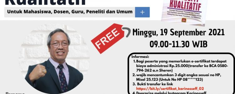 Ikuti Webinar Terbuka 'Bedah Buku : Menjadi Peneliti Kualitatif' Bersama Prof. Dr. Sudarwan Danim